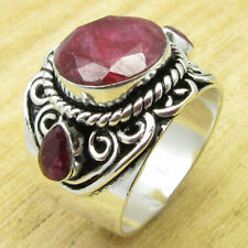 Round, Drop Simulated Ruby Charming Ring Size 9.25 ! Silver Plated Jewelry New