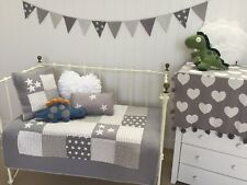 4 pce Cot Quilt & 2 Cushions Bunting Set Lachlan Grey Stars Baby Boys  Nursery