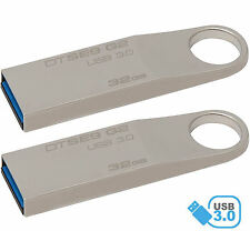 Lot of 2 Kingston 32GB DataTraveler SE9 G2 USB 3.0 Flash Memory Metal Pen Drive