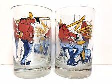 Vintage Meiersdorff Original Jazz New Orleans Barware Cocktail Glasses Set of 2