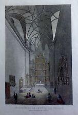 MADRID ,CAPILLA DEL OBISPO, PARROQUIA DE SAN ANDRÉS. Grabado original, ca. 1870