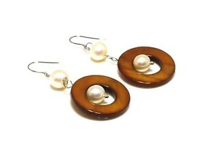 Brown Mother of Pearl with Freshwater Pearl Earrings
