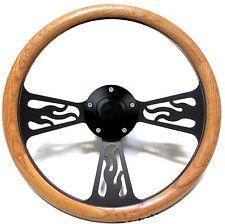 1974 -1994 GMC Pick Up, Van Steering Wheel Oak Wood & Flames Black Billet