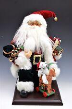 "Santa Claus Figurine Kneeling Santa with Presents & Toys on a Wood Base 14"""