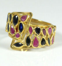 18K ITALY YELLOW GOLD GEOMETRIC RUBY & BLUE SAPPHIRE RING 6.6 GRAM SIZE 8
