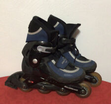 Vintage Rollerblade Sx10 Inline Skates Youth Adjustable Boys Sz 3-6 Abec 1 Good