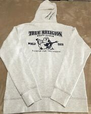 True Religion Mens Classic Logo Zip Hoodie Color Oatmeal Size XL