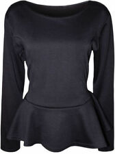 Polyester Long Sleeve Peplum Solid Tops & Blouses for Women