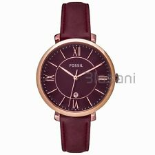 Fossil Original ES4099 Women's Jacqueline Wine Red Leather Watch 36mm