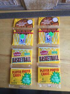 TWO 1990 FLEER BASKETBALL RACK PACKS WITH MICHAEL JORDAN ALL-STAR CARDS ON BACK