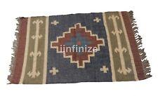2x3' Wool Jute Rug Floor Carpet Rug Area Rug Kilim Geometric Rag Rug Hallows'Eve