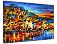 AT54378D Small Quiet Town By Leonid Afremov Canvas Wall Art Prints Abstract