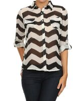 Ladies Size UK 16 Blouse Black & White Semisheer Chevron Top rrp $69.99 # B-284