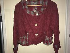 Red and check tweed collarless ladies jacket BNWT 12