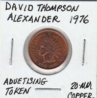 (V)  Token - Advertising Token - David Thompson Alexander - 1976 - 20 MM Copper