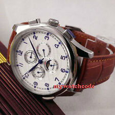 44mm parnis white dial blue marks Moon Phase brown leather automatic mens watch