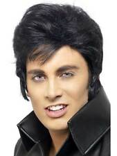 Short Black Wavy Wig, Elvis Presley Wig, Fancy Dress Accessory
