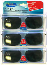 3 PACK Solar SHIELD CLIP ON Sunglasses FRAMELESS 54 REC 1 W/ CASE FREE SHIPPING