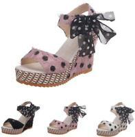 Platform Slingbacks Sandals Dot Buckle Bowknot Lace Wedge High Heel Women Shoes