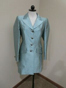 Vintage Escada Couture Silk Jacket long blazer jeweled buttons shoulder pads