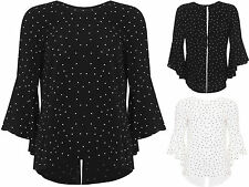 Gepunktete Langarm Damenblusen, - tops & -shirts für Business-Anlässe