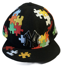 New York Yankees New Era 59Fifty Black Fitted Hat Cap Size 7 3/4 Puzzle Pieces