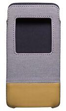 Blackberry DTEK50 Grey Tan Smart Pocket Case Pouch ACC-63006-002