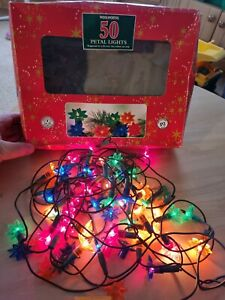 Retro Set Of Woolworths Incandescent Christmas Lights With Flower Heads...
