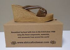 Sbicca's Women's Rosegold Wedge Sandals with Buckle - Nightlife - Size 9