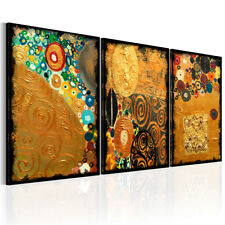 Fleece Canvas Pictures Gustav Klimt Mosaic Stained Brown Gold Wall Pictures Livi...