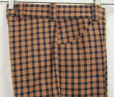 Men'S Vintage Orange Plaid Cuffed Wide Leg Mod Disco Dress Slacks Size 28 X 30