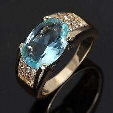 Men's Size 11 Halo Aquamarine 18K Gold Filled Fashion Wedding Engagement Ring