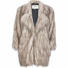 RIVER ISLAND UK SIZE 8-10 FAUX FUR GREY CREAM SHAGGY COAT JACKET WOMENS LADIES