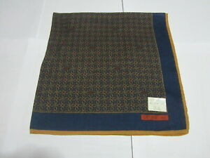 "USED NAVY BLUE GEOMETRIC  PATTERN COTTON 18"" HANDKERCHIEF POCKET SQUARE FOR MEN"