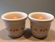 Longaberger Candy Corn Votive Cups/Ramekins + Candles Set of Two Excellent!