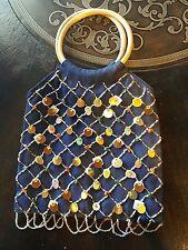 Paillettes Jean Handbag Wooden Handles Sequins Rocks Bling Blue Denim Purse