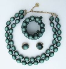 Vintage Lisner Forest Green Moonglow Bead Necklace Coil Bracelet & Clip Earrings
