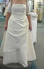 Elegant Formal Gown A-Line Starpless w/ Asymmetric Skirt Size 18 Lt. Gold Satin