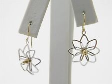 14k Yellow & White Gold Cut Out Lily Flower Earrings JA0349