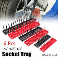 6Pcs Socket Organizer Tray Rack Storage Holder Tool Metric SAE 1/4'' 3/8'' 1/2''