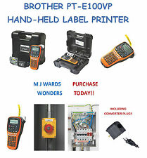 BROTHER PT-E100VP HAND-HELD LABEL PRINTER + Converter Plug ** PURCHASE TODAY **