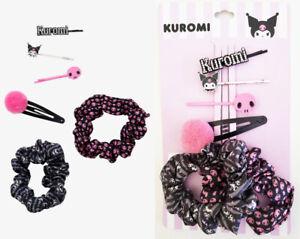 NWT Sanrio Kuromi Hair Accessory Set of 6 - Bobby Pins, Barrette & Scrunchie