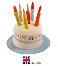 BLUE HAPPY BIRTHDAY CAKE HAT Kids Adult Headwear Fancy Dress Party Candles UK