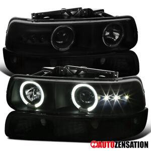 For 99-02 Silverado 00-06 Suburban Tahoe Smoke LED Halo Headlights+Bumper Lamps