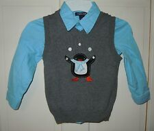 Cherokee Gray V-Neck Sweater Vest with Penguin Applique & Blue Shirt Set - 4T