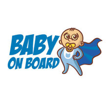 Cool Baby Boy On Board Super Hero Wear Cape Car Sticker | Window Cute Blue Decal