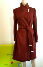 TED BAKER ELLGENC RUST WOOL & CASHMERE WRAP COAT UK 10 TED 2 USA 6 RRP £339 BNWT