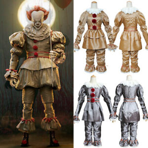 Halloween Stephen King's IT Pennywise Clown Cosplay Costume Fancy Dress Outfits