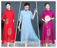 Chinese Embroidery Slik Women's Long Loose Gown Shift Dress Cheongsam M-3XL
