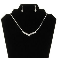 Alloy Silver Plated Rhinestone Necklace, Earrings Classic Wedding Jewelry Set